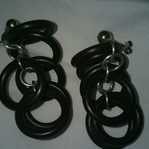 One of a kind leather hoops and hoops